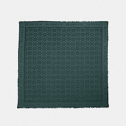 COACH F41814 Signature Jacquard Oversized Square Scarf EVERGREEN