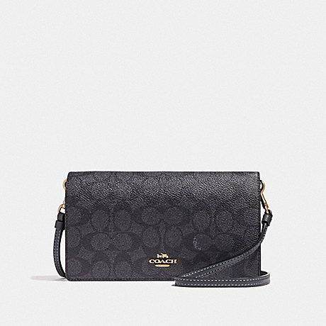 COACH F41920 HAYDEN FOLDOVER CROSSBODY CLUTCH IN COLORBLOCK SIGNATURE CANVAS GD/CHARCOAL-MIDNIGHT-NAVY