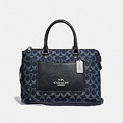 EMMA SATCHEL IN SIGNATURE DENIM - F44708 - DENIM/SILVER