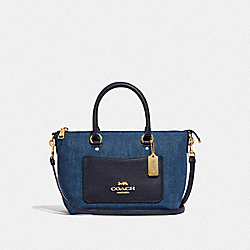 COACH F44719 Mini Emma Satchel DENIM/LIGHT GOLD