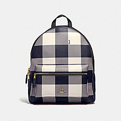 COACH F44953 Medium Charlie Backpack With Buffalo Plaid Print MIDNIGHT/LIGHT GOLD