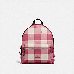 MEDIUM CHARLIE BACKPACK WITH BUFFALO PLAID PRINT - F44953 - STRAWBERRY/SILVER