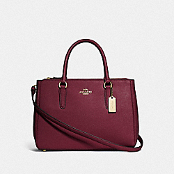 COACH F44958 - SURREY CARRYALL WINE/IMITATION GOLD