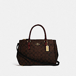 SURREY CARRYALL IN SIGNATURE CANVAS - F44959 - BROWN BLACK/MULTI/IMITATION GOLD