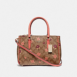 MINI SURREY CARRYALL IN SIGNATURE CANVAS WITH TOSSED PEONY PRINT - F44961 - KHAKI/PINK MULTI/IMITATION GOLD