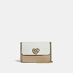 BOWERY CROSSBODY IN COLORBLOCK WITH HEART TURNLOCK - F44963 - PINK MULTI/IMITATION GOLD