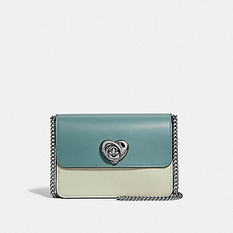 COACH F44963 BOWERY CROSSBODY IN COLORBLOCK WITH HEART TURNLOCK<br>蔻驰BOWERY论在拼色心小编推荐: 绿色多银