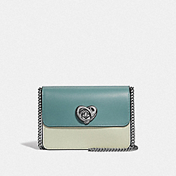BOWERY CROSSBODY IN COLORBLOCK WITH HEART TURNLOCK - F44963 - GREEN MULTI/SILVER