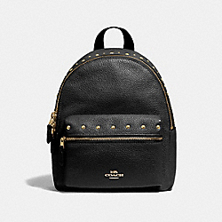COACH F45070 Mini Charlie Backpack With Studs BLACK/IMITATION GOLD