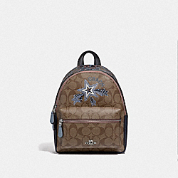 MINI CHARLIE BACKPACK IN SIGNATURE CANVAS WITH PRINTED STAR MOTIF - F45312 - KHAKI MULTI/SILVER