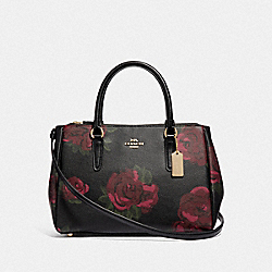 SURREY CARRYALL WITH JUMBO FLORAL PRINT - F45316 - BLACK/CHERRY MULTI/IMITATION GOLD
