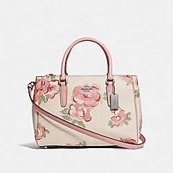 SURREY CARRYALL WITH JUMBO FLORAL PRINT - F45316 - CHALK/PETAL MULTI/SILVER