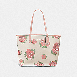 REVERSIBLE CITY TOTE WITH JUMBO FLORAL PRINT - F45317 - CHALK MULTI/PETAL/SILVER
