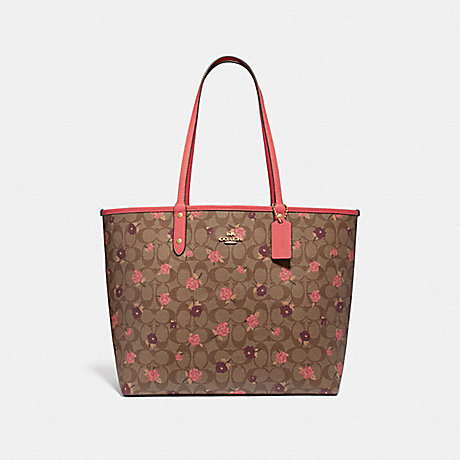 COACH F45348 REVERSIBLE CITY TOTE IN SIGNATURE CANVAS WITH TOSSED PEONY PRINT<br>蔻驰可逆城市。签名画布扔印牡丹 卡其色,粉红色多/仿金