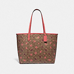 REVERSIBLE CITY TOTE IN SIGNATURE CANVAS WITH TOSSED PEONY PRINT - F45348 - KHAKI/PINK MULTI/IMITATION GOLD