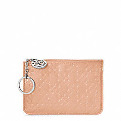 COACH F45844 Chelsea Embossed Patent Medium Skinny SILVER/DUSTY PINK