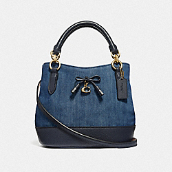 MICRO ALLY BUCKET BAG - F46245 - DENIM/LIGHT GOLD