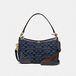 SMALL EAST/WEST IVIE SHOULDER BAG IN SIGNATURE DENIM - F46284 - DENIM/LIGHT GOLD