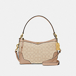 SMALL EAST/WEST IVIE SHOULDER BAG IN SIGNATURE JACQUARD - F46285 - LIGHT KHAKI BEECHWOOD/LIGHT GOLD