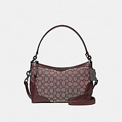 SMALL EAST/WEST IVIE SHOULDER BAG IN SIGNATURE JACQUARD - F46285 - RASPBERRY/BLACK ANTIQUE NICKEL