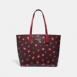 REVERSIBLE CITY TOTE WITH TOSSED PEONY PRINT - F46286 - OXBLOOD 1 MULTI/CHERRY/IMITATION GOLD