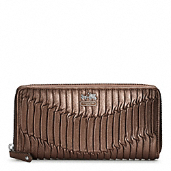 COACH F46481 Madison Gathered Leather Accordion Zip Wallet SILVER/BRONZE