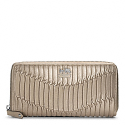 COACH F46481 Madison Gathered Leather Accordion Zip SILVER/METALLIC