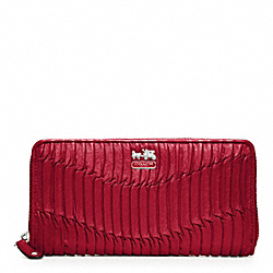COACH F46481 Madison Gathered Leather Accordion Zip Wallet SILVER/RASPBERRY