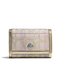 COACH F46494 Signature Stripe Tartan Compact Clutch SILVER/MULTICOLOR