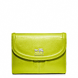 COACH F46608 Madison Leather Medium Wallet SILVER/KIWI