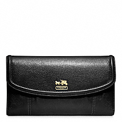 COACH F46615 Madison Leather Checkbook Wallet BRASS/BLACK