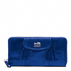 COACH F46620 Madison Patent Accordion Zip Wallet SILVER/ULTRAMARINE