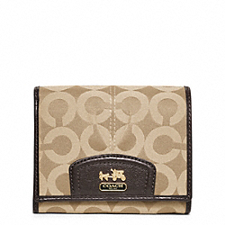 MADISON OP ART SATEEN COMPACT CLUTCH - f46640 - BRASS/KHAKI/MAHOGANY