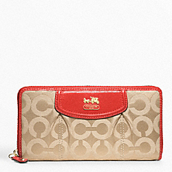 COACH F46641 Madison Op Art Sateen Accordion Zip BRASS/LIGHT KHAKI/PAPAYA