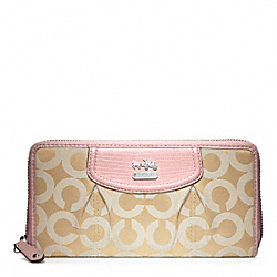 COACH F46641 Madison Op Art Sateen Accordion Zip Wallet SILVER/LIGHT GOLDGHT KHAKI/TUBEROSE