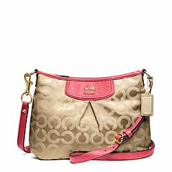 COACH F46642 Madison Op Art Sateen Fashion Swingpack BRASS/LIGHT KHAKI/PEONY