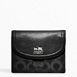 COACH F46643 Madison Op Art Sateen Medium Wallet SILVER/BLACK/BLACK LIZARD