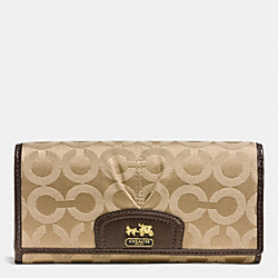 COACH F46644 Madison Op Art Sateen Slim Envelope Wallet  BRASS/KHAKI/MAHOGANY