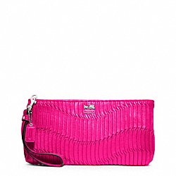 COACH F46914 Madison Gathered Leather Zip Clutch SILVER/HOT PINK
