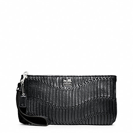 COACH f46914 MADISON GATHERED LEATHER ZIP CLUTCH SILVER/BLACK SILVER