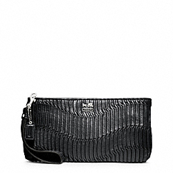 COACH F46914 - MADISON GATHERED LEATHER ZIP CLUTCH SILVER/BLACK SILVER