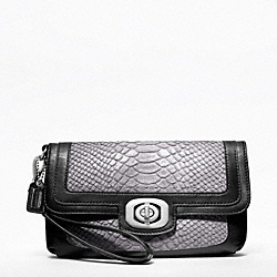 COACH PINNACLE EMBOSSED EXOTIC COLORBLOCK LARGE WRISTLET - ONE COLOR - F47158