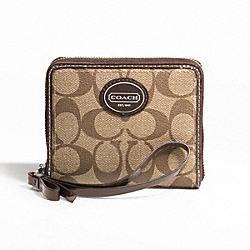 PEYTON MEDIUM ZIP AROUND - f47341 - SILVER/KHAKI/MAHOGANY
