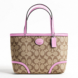 COACH F47367 - PEYTON TOP HANDLE TOTE SILVER/KHAKI/ORCHID