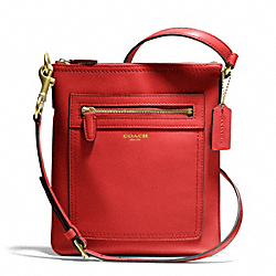 COACH F47989 Swingpack In Leather BRASS/CORAL RED