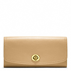 LEATHER SLIM ENVELOPE - f48003 - BRASS/SAND