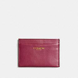 COACH F48010 Leather Card Case BRASS/DEEP PORT