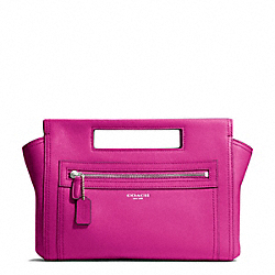 COACH F48012 - LEATHER BASKET CLUTCH SILVER/BRIGHT MAGENTA