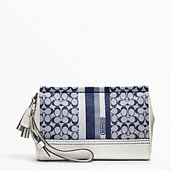 COACH F48014 Signature Stripe Large Wristlet SILVER/NAVY/IVORY