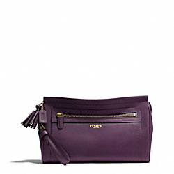 COACH F48021 - LEATHER LARGE CLUTCH BRASS/BLACK VIOLET